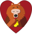 cute cartoon bear eating vector image