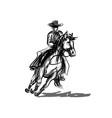 ink sketch a cowboy on a horse vector image