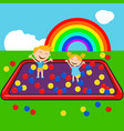 children in ball house with colorful ball vector image