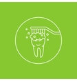 Dental tooth cleaning washing linear vector image
