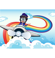A female pilot driving the plane and a rainbow in vector image vector image