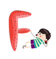 A Kid Leaning on a Letter F