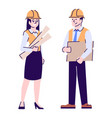 architects flat characters construction project vector image