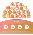 bakery concept in half circle with thin line icons vector image