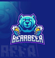 bear beer mascot logo