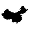china - solid black silhouette map of country area vector image