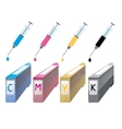 CMYK ink cartridges in perspective Syringe with a vector image vector image