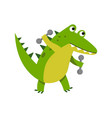 cute cartoon crocodile character raising dumbbells vector image vector image
