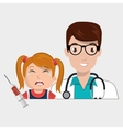 doctor child stethoscope syringe vector image
