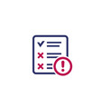 failed test icon on white vector image vector image