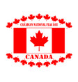 flag of canada and maple leaves vector image vector image
