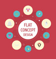 flat icons sandal present patisserie vector image vector image