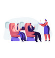 flight attendant serving passenger in airplane vector image vector image