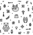 forest doodle cute animals seamless pattern vector image