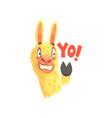 funny llama character waving its hoof saying yo vector image