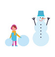girl in warm cloth hold balls of snow and snowman vector image