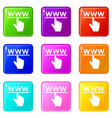hand cursor and website icons 9 set vector image vector image