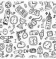 hand drawn set clocks and watches seamless vector image