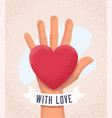 hand palm with red heart and sign with love vector image vector image