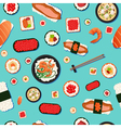 japanese food seamless pattern sushi vector image vector image