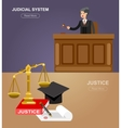 law horizontal banner set with judicial system