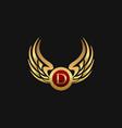 luxury letter d emblem wings logo design concept vector image vector image