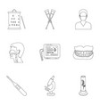 medicine and hospital set icons in outline style vector image vector image