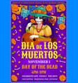 mexican dia des los muertos party friday woman vector image