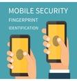 Mobile Internet Secutiry fingerprint vector image vector image