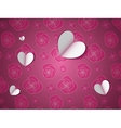 paper hearts on flower pattern vector image vector image