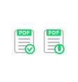 pdf document with check mark download icon vector image vector image