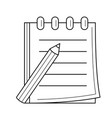 pencil and notepad with binders line icon vector image vector image