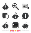 piggy bank icons dollar euro pound moneybox vector image
