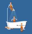 plumber and bath service repair and maintenance vector image vector image