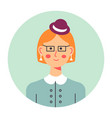 portrait elegant female character with headwear vector image vector image