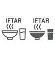 ramadan iftar line and glyph icon food and vector image