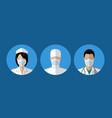 set flat icons medical staff nurse vector image