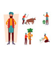 set indian farmer and his work activity in vector image