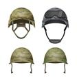 set military camouflage helmets in khaki camo vector image vector image
