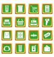 supermarket icons set green vector image