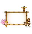 the animals playing together with bamboo frame vector image vector image