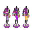 three black mannequins with bright multicolored vector image