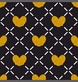tile quilted pattern with golden hearts on black vector image