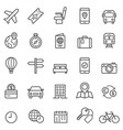 Travel booking line icons