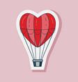 valentine day air balloon line art sticker vector image