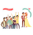 wedding poster and crowd vector image vector image