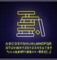 wooden blocks game neon light icon vector image