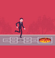 young carefree businessman playing hopscotch fire vector image