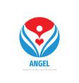 angel love red heart logo design human character vector image