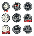 anniversary retro badge collection 70 years vector image vector image